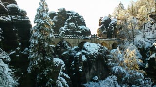 The Bastei Bridge in the winter, Saxon Switzerland national park, Germany