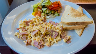 Czech breakfast: scrambled eggs with scallions, Prague, Czech Republic