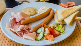 Czech breakfast: Vienna sausages with ham, Prague, Czech Republic
