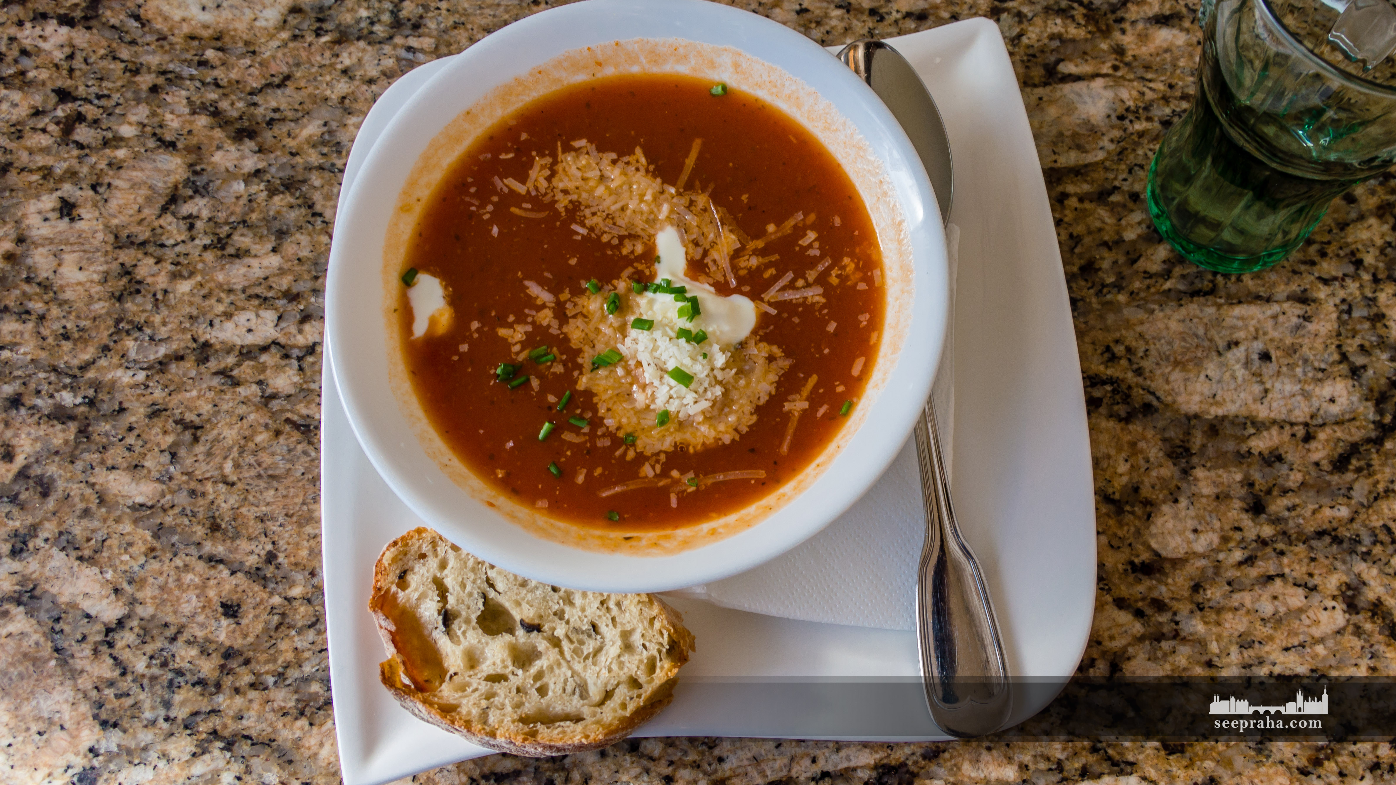 Homemade tomato soup with fresh parmesan and sour cream, Prague, Czech Republic