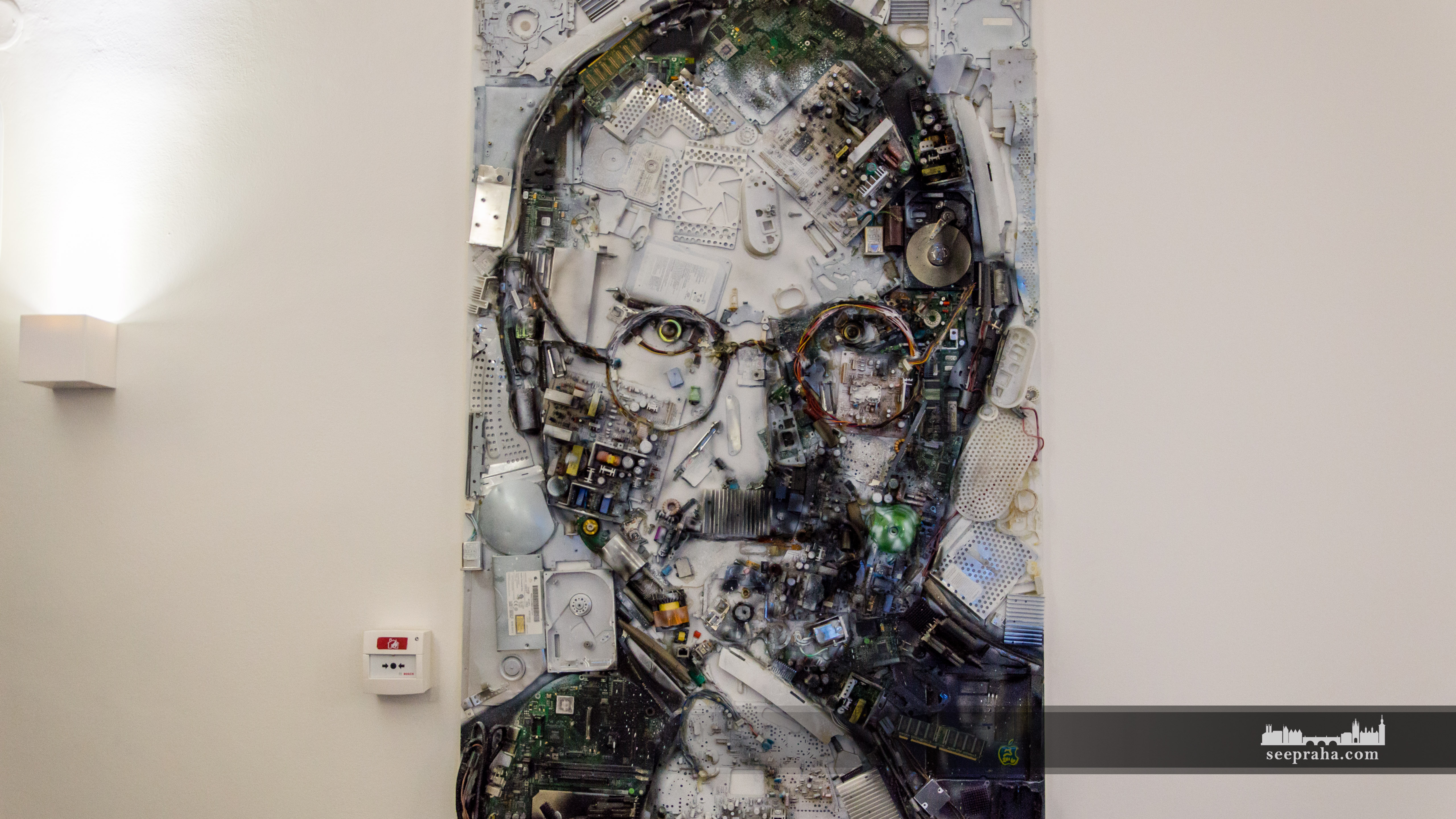 Portrait of Steve Jobs made with computer circuit boards in the Apple Museum, Prague, Czech Republic
