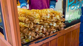 Potato chips on a stick, Prague, Czech Republic