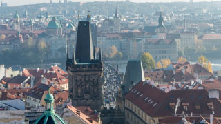 View of Charles Bridge from St. Nicholas Church Tower, Prague, Czech Republic