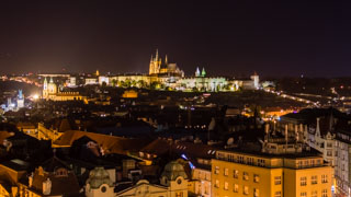 View of Prague Castle at night, Czech Republic