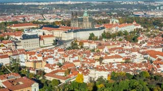 View of Prague Castle from the Petrin Tower, Czech Republic