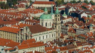 View of St. Nicholas Church taken from Petřín Tower, Prague, Czech Republic