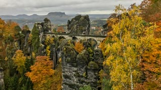 View of the Bastei bridge from the cliff Ferdinandstein, Saxon Switzerland national park, Germany