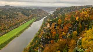 Panoramic view from the Bastei over the river Elbe, Saxon Switzerland national park, Germany