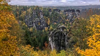 View from Bastei over the rocks, Saxon Switzerland national park, Germany